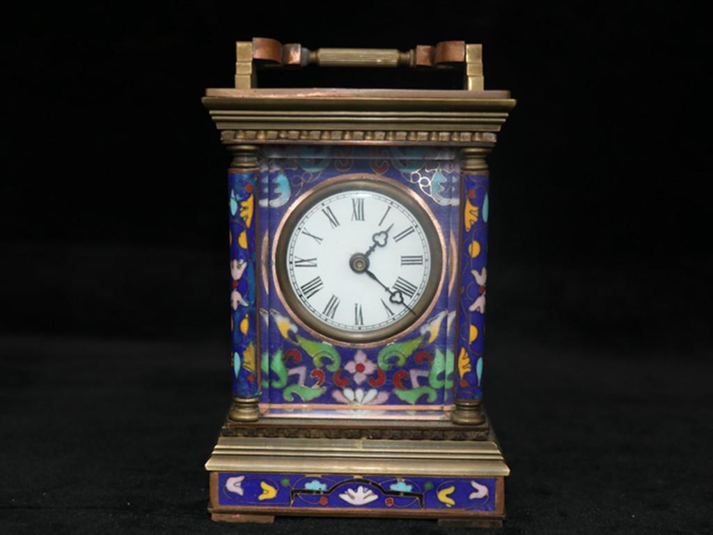 時代物 友人館蔵 銅胎景泰藍 琺瑯彩 七宝焼 花卉紋 置時計 手巻き 貴重