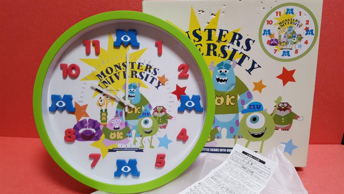 ディズニー アイコンウォールクロック モンスターズユニバーシティ (グリーンver) 壁掛け時計 サリー マイク モンスターズインク   ディズニーグッズの画像