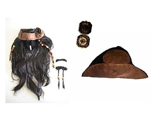 ジャック スパロウ 風 コスプレ 用 ウィッグ ( ヒゲ 付き ) & 帽子 ※ コンパス も セット (ウィッグ&帽子セット)
