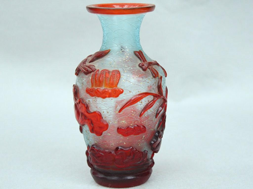 友人委託販売 瑠璃製 花瓶 彩繪図 置物 珍品 在銘90403