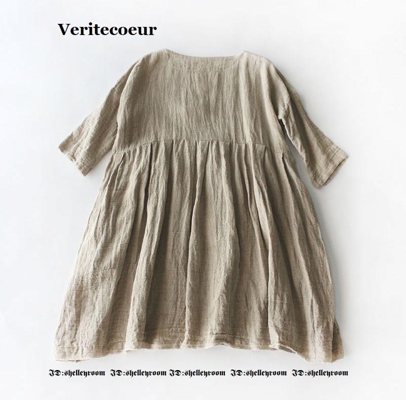 新品タグ付き Veritecoeur Special Collection ヴェリテクール VC-1437 リネンチュニック 45rpm Vlas Blomme R&D.M.Co-