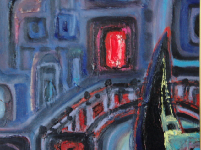 ≪国美協≫関口進、『ゴンドラと橋』、油彩画、F6号:40,9×31,8cm、油絵一点物、新品高級油彩額付、直筆サイン・真作保証付_高級油彩新品額付