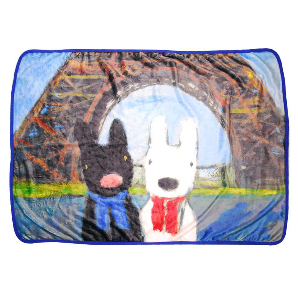 【美品】リサとガスパール☆パリの休日☆ブランケット 肌掛け 寒さ対策に 未使用 グッズの画像