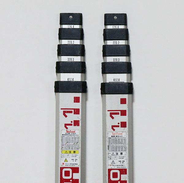 アルミスタッフ 5m x 5段 2本セット SanExcel 中古・伸縮確認 レベル スタッフ 測量・測定_画像3