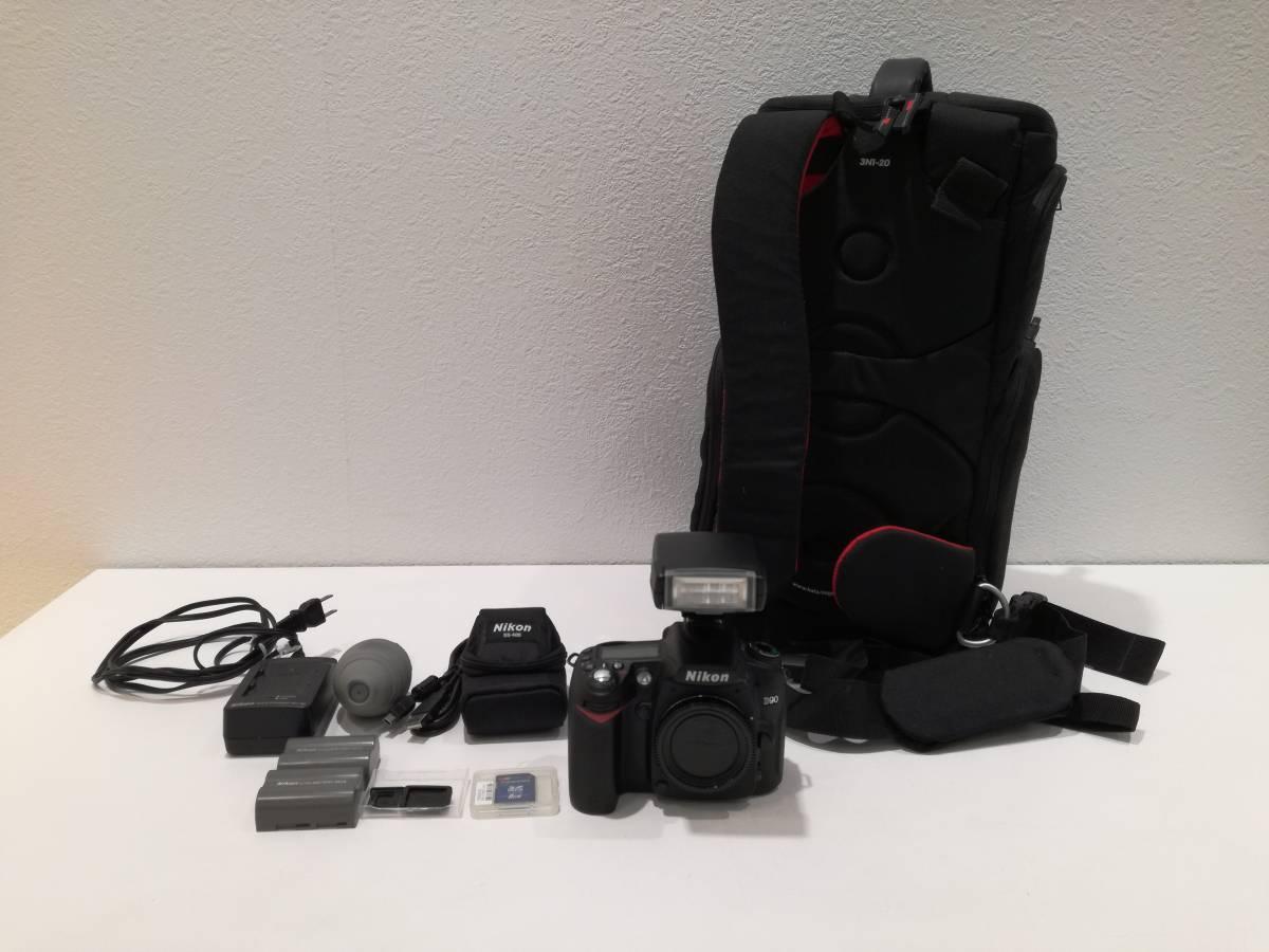 □美品 ニコン Nikon デジタル一眼レフカメラ D90 ボディ * 付属品いろいろ カメラバッグ付き 1円スタート