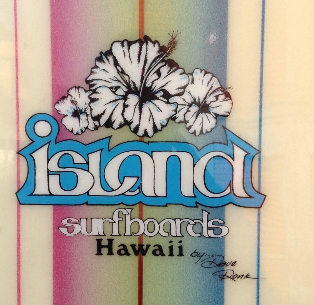 サーフボード ☆ ISLAND SURFBOARDS HAWAII ☆ 6.7FT ≒ 201cm レインボー ストライプ ☆ ビンテージ ☆_フィンは無し