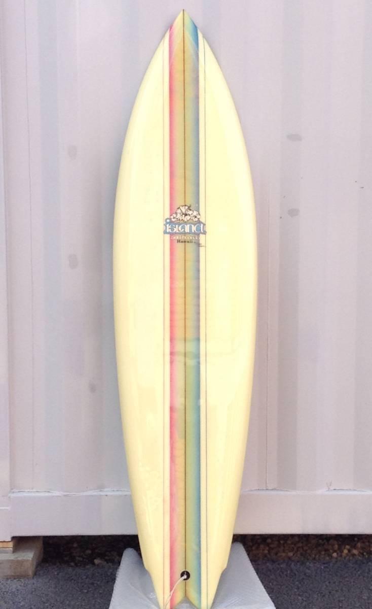 サーフボード ☆ ISLAND SURFBOARDS HAWAII ☆ 6.7FT ≒ 201cm レインボー ストライプ ☆ ビンテージ ☆_画像1