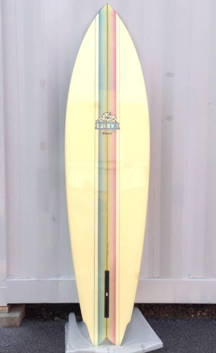 サーフボード ☆ ISLAND SURFBOARDS HAWAII ☆ 6.7FT ≒ 201cm レインボー ストライプ ☆ ビンテージ ☆_by Dave Ronk