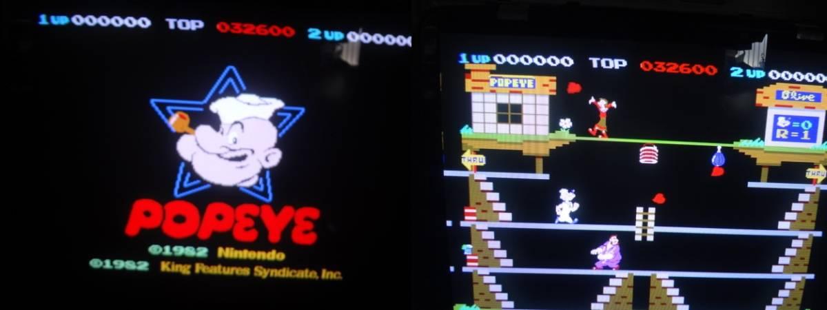 極レア 任天堂 ポパイ(1982年 オリジナルボードだと思いますが)PCB JAMMA変換H付!_動作画面