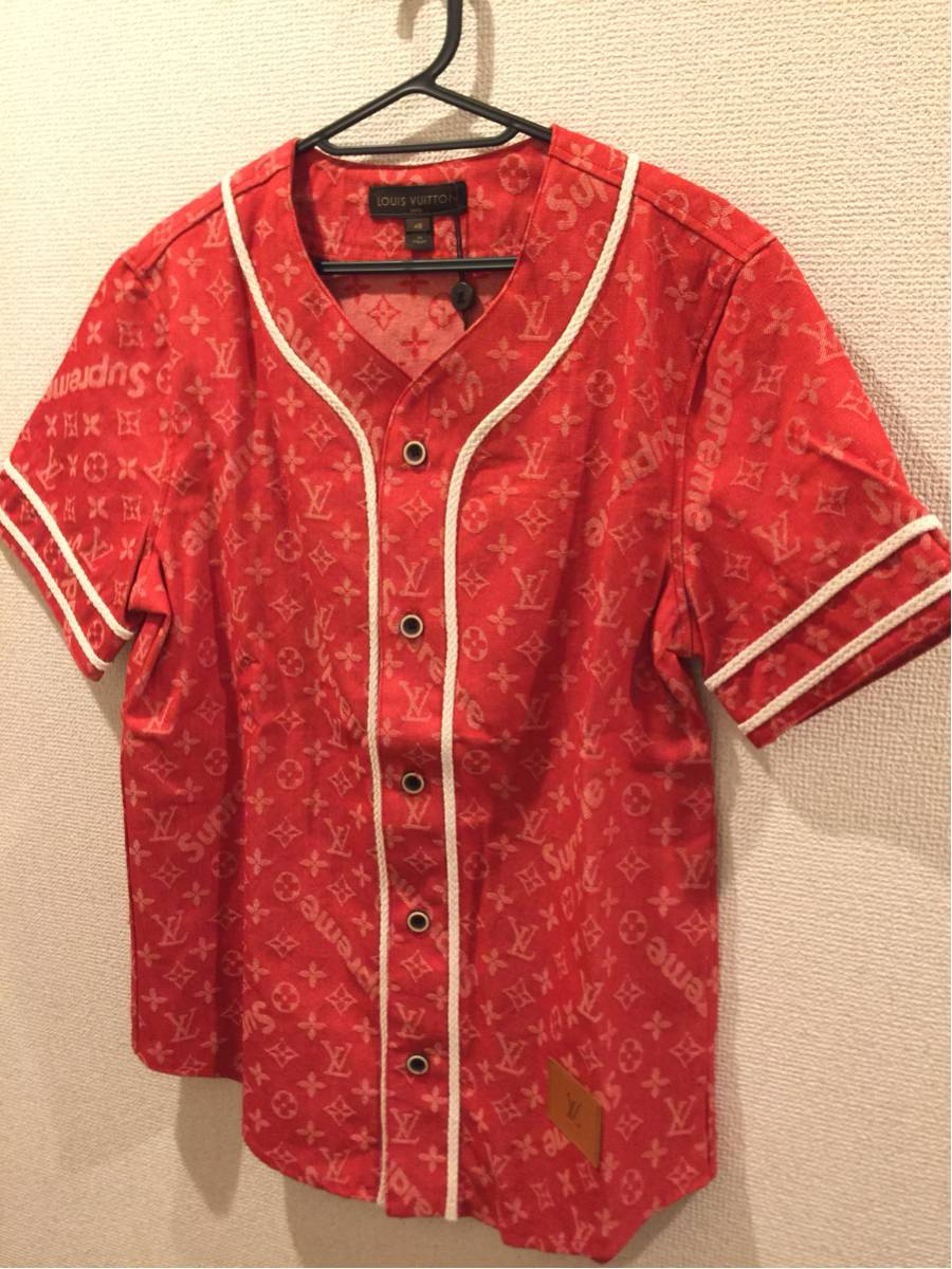 LouisVuitton×Supreme Mサイズ Jacquard Denim Baseball Jersey supreme LOUIS VUITTON