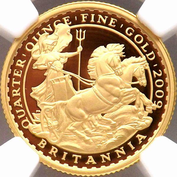 最上級 イギリス 2009 ブリタニア チャリオット 25ポンド 金貨 NGC PF70UC