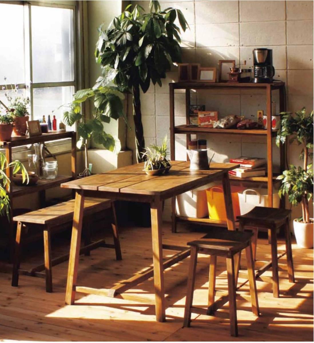 送料無料 マホガニ無垢材使用の アンティーク&アジアンカントリー調の オイル仕上げの4人掛けのテーブル+ベンチ+スツール②のセット