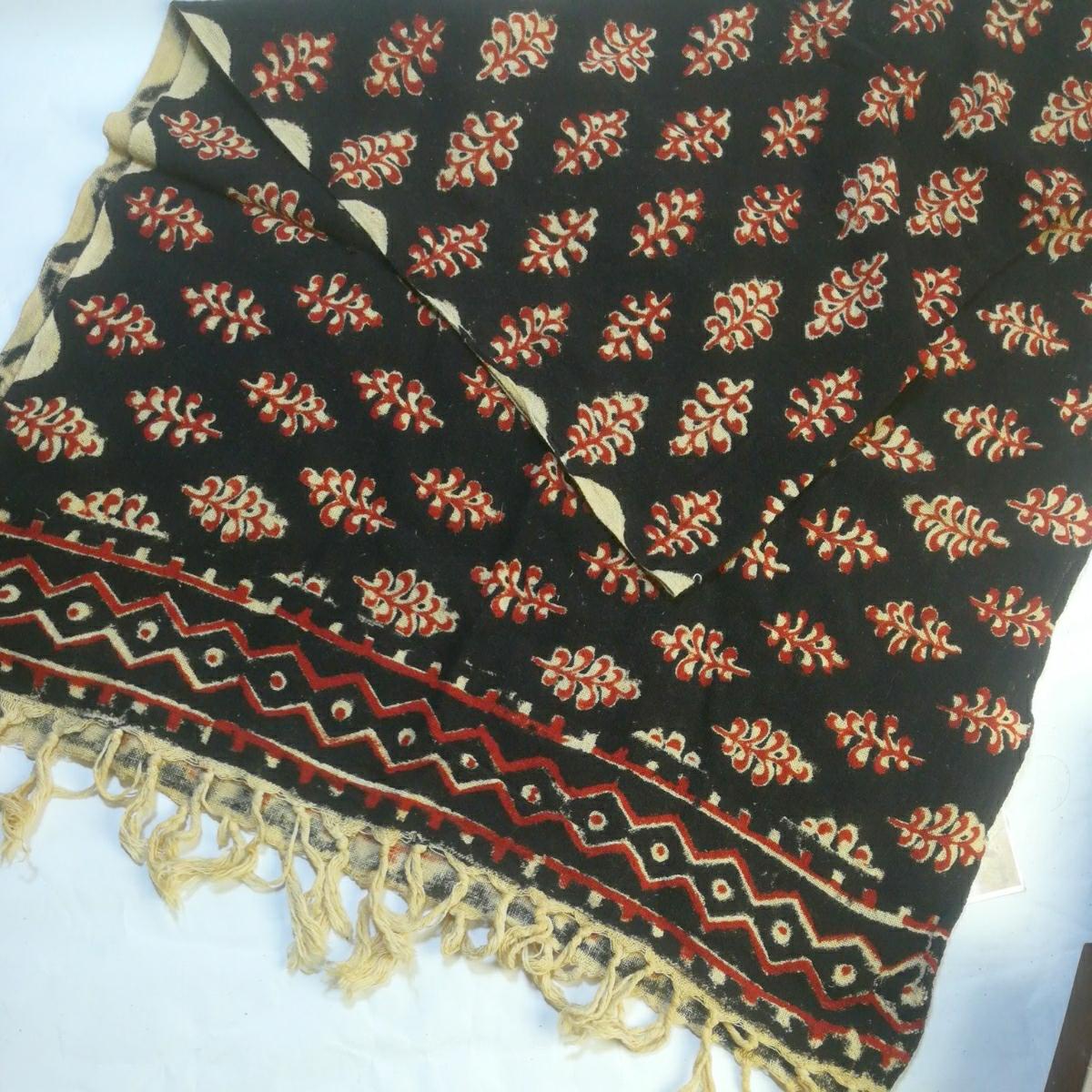 インドブロックプリント草木染テーブルクロスライナースカーフショール 55X158cm フリンジ含170cm 木版 カディ手織り藍染半額送料無料 SW-2