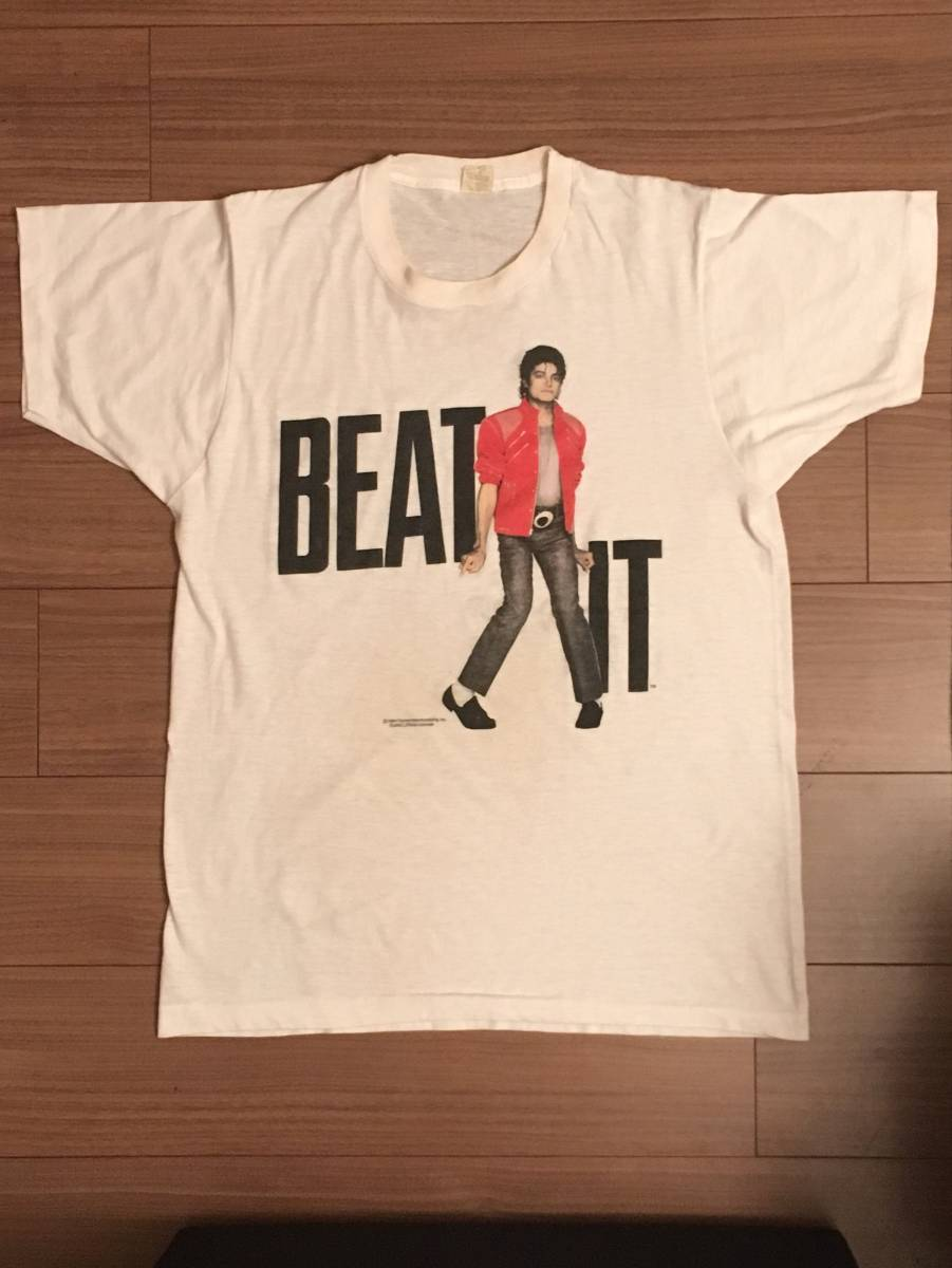 値下げしました。マイケルジャクソン BEAT IT Tシャツ 1984年 ヴィンテージ Michael Jackson 80's コピーライト ライブグッズの画像