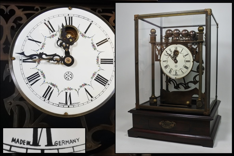 アンティーク 観覧車輪 硬球落下式置時計 ガラスケース引出 美術品