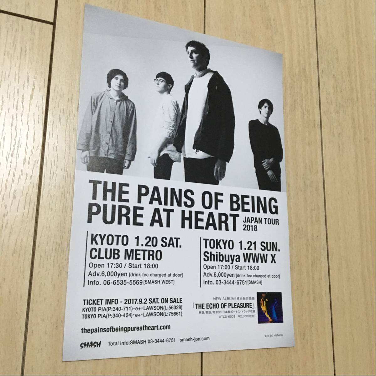the pains of being pure at heart ライブ 来日 告知 チラシ 2018 ザ・ペインズ・オブ・ビーイング・ピュア・アット・ハート japan tour