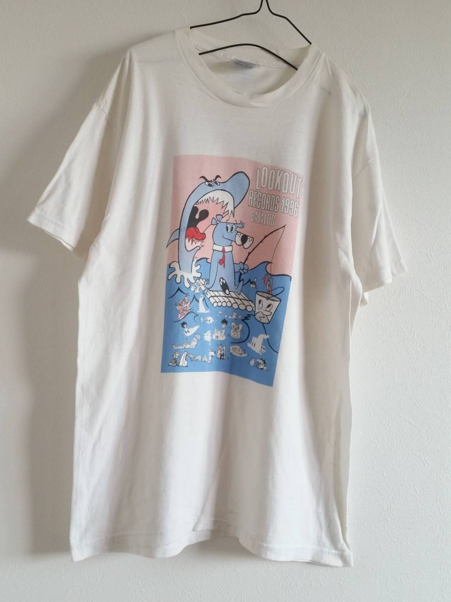 """90s """"LOOKOUT Records"""" Label Comic Print T-shirt GREEN DAY OPERATION IVY ルックアウト レコーズ Tシャツ グリーンデイ ヴィンテージ"""