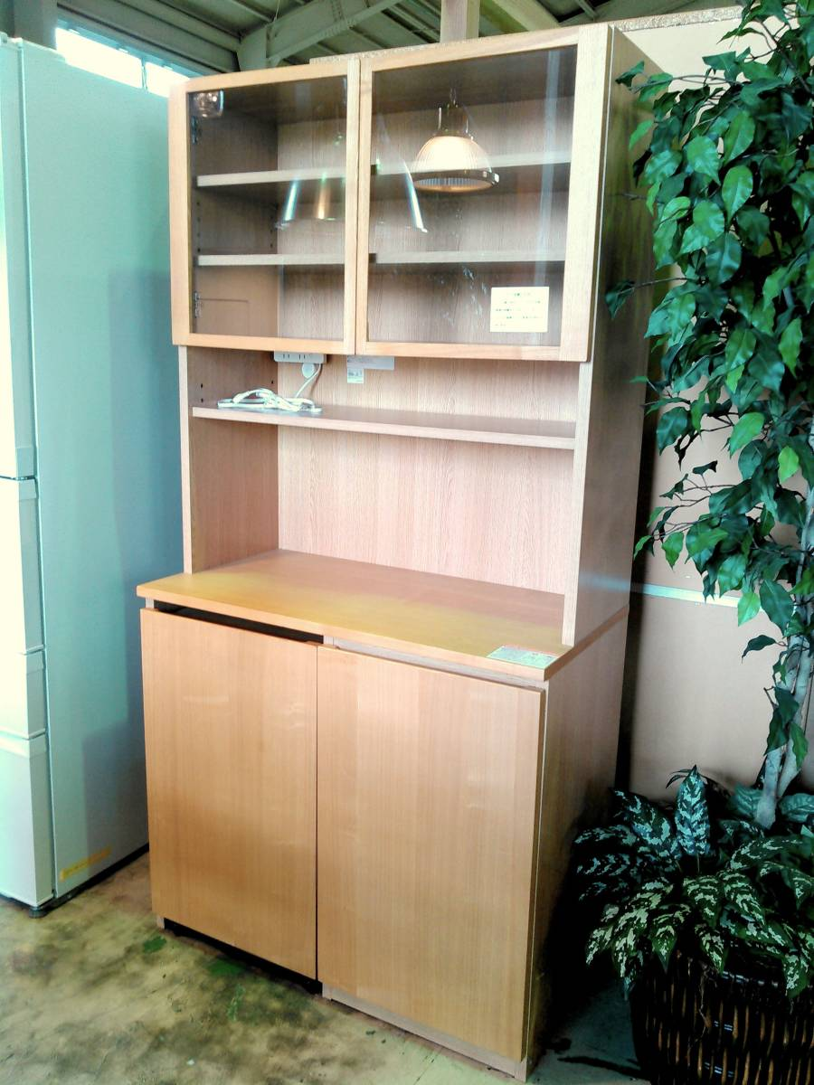 ■MUJI無印良品■ 木製カップボード オープンタイプ タモ材/ナチュラル ワゴン付き 食器棚 カップボード キッチンボード_画像1