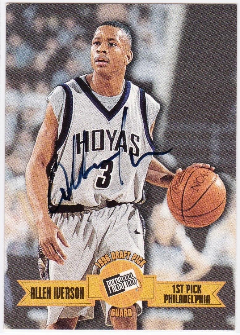 アイバーソン直筆サインカード 1996 Press Pass Auto Allen Iverson NCAA カレッジ バスケ NBA グッズの画像