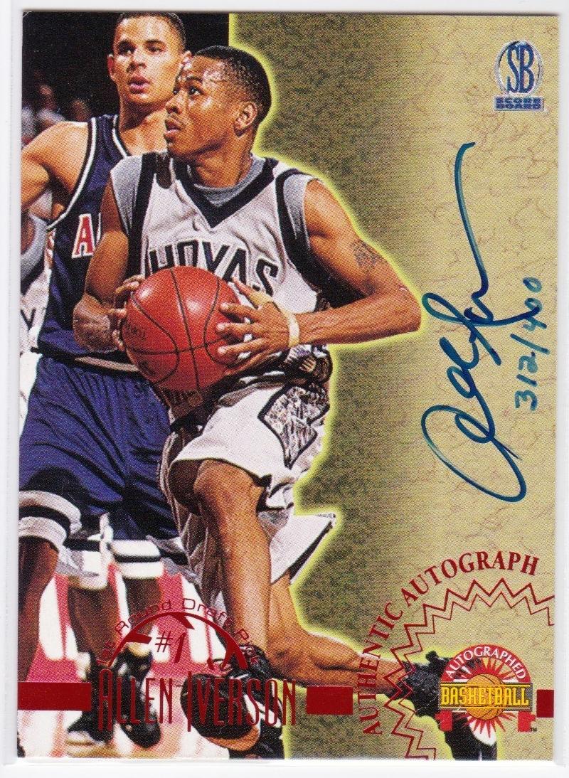 アイバーソン直筆サインカード 1996 Score Board Auto Allen Iverson 312/400 NCAA カレッジ バスケ NBA グッズの画像