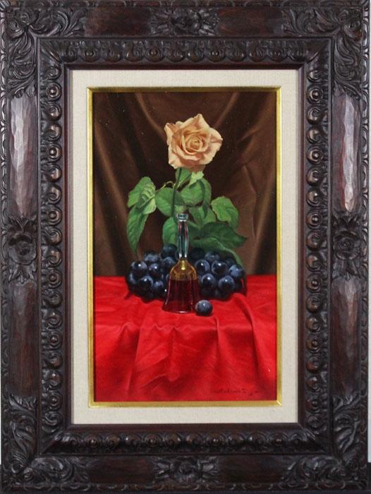 ◆赤いテーブル◆三嶋哲也◆写実◆お洒落な額です◆