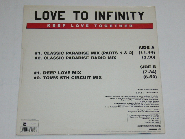LOVE TO INFINITY / KEEP LOVE TOGETHER / 1995年盤 / T00467 / UK盤 / 試聴検査済み_画像2