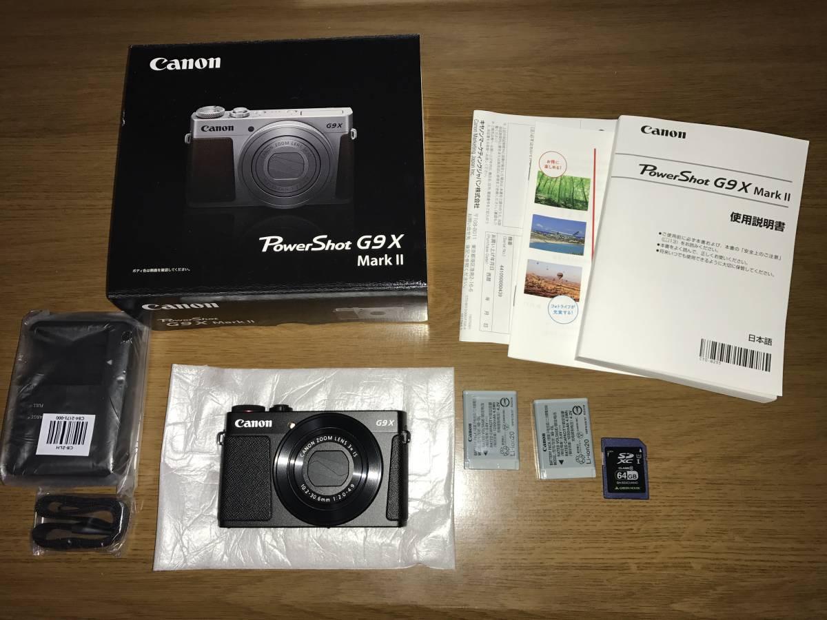 ◆◆CANON PowerShot G9X Mark II 本体、純正バッテリー2個、64GBSDカード付き 美品 送料無料
