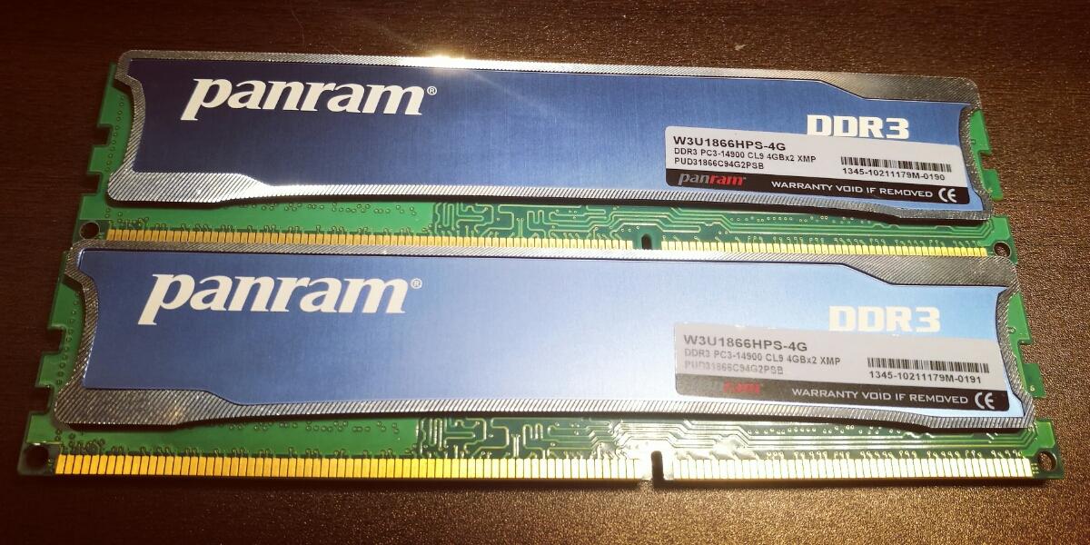 Panram DDR3 4GB×2=8BGセット, PC14900, 933mHz, xmp-1866