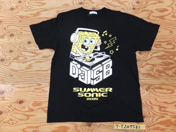 美品!SUMMER SONIC 2015 サマーソニック DJスポンジボブ コットン半袖Tシャツ メンズ L 黒 グッズの画像