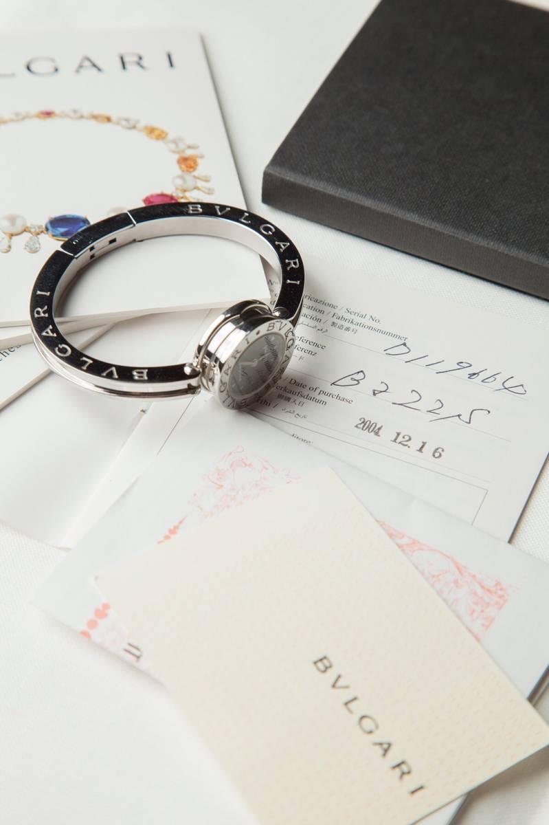 美品 本物 ブルガリ レディース 腕時計 バングルウォッチ B-zero1 ビーゼロ ワン 黒文字盤 シルバー