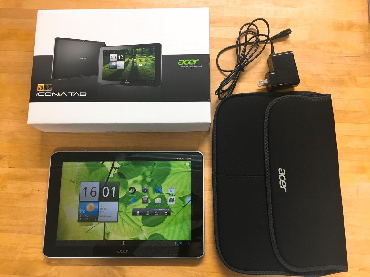 動作確認済【美品】acer A700 ICONIA TAB 16GB WiFi 専用ケース付きATMU7