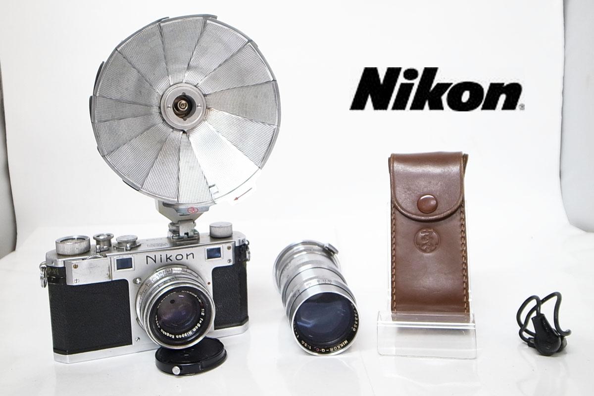 Nikon/ニコン 日本光学東京 レンズ NIKKOR-H・C 1:2 f=5㎝ 発光機 4点セット d