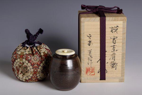 5061 笹田有祥 摸 富士山肩衝茶入(共箱) 肩付 茶入 茶道具_画像1