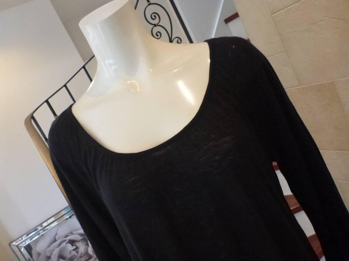 NATURAL BEAUTY BASIC|ナチュラルビューティーベーシック★ 黒ブラック 長袖薄手セーター M_画像2
