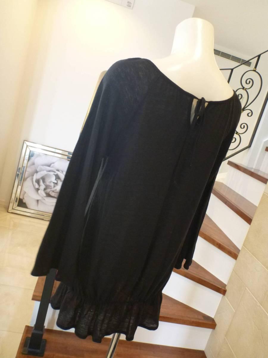 NATURAL BEAUTY BASIC|ナチュラルビューティーベーシック★ 黒ブラック 長袖薄手セーター M_画像3