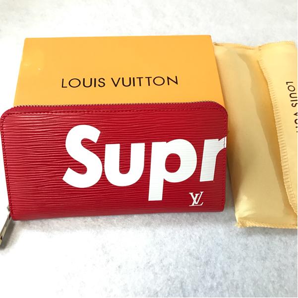 新品 Supreme×LOUIS VUITTON ルイヴィトン シュプリーム コラボ 長財布 レッド ノベルティ レッド ラウンドジップ ボックス付