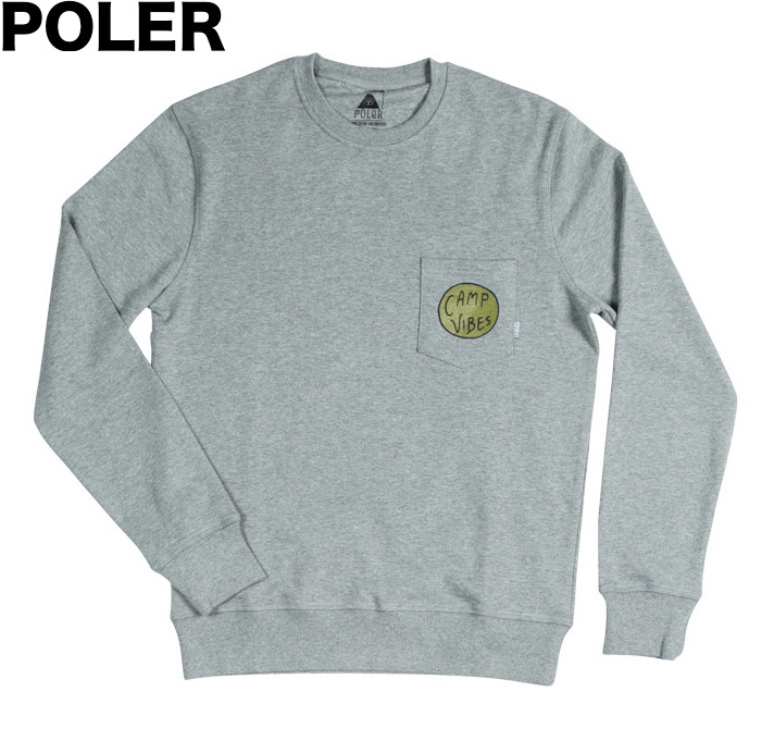Poler Camp Vibes Crewneck Sweatshirt Grey M