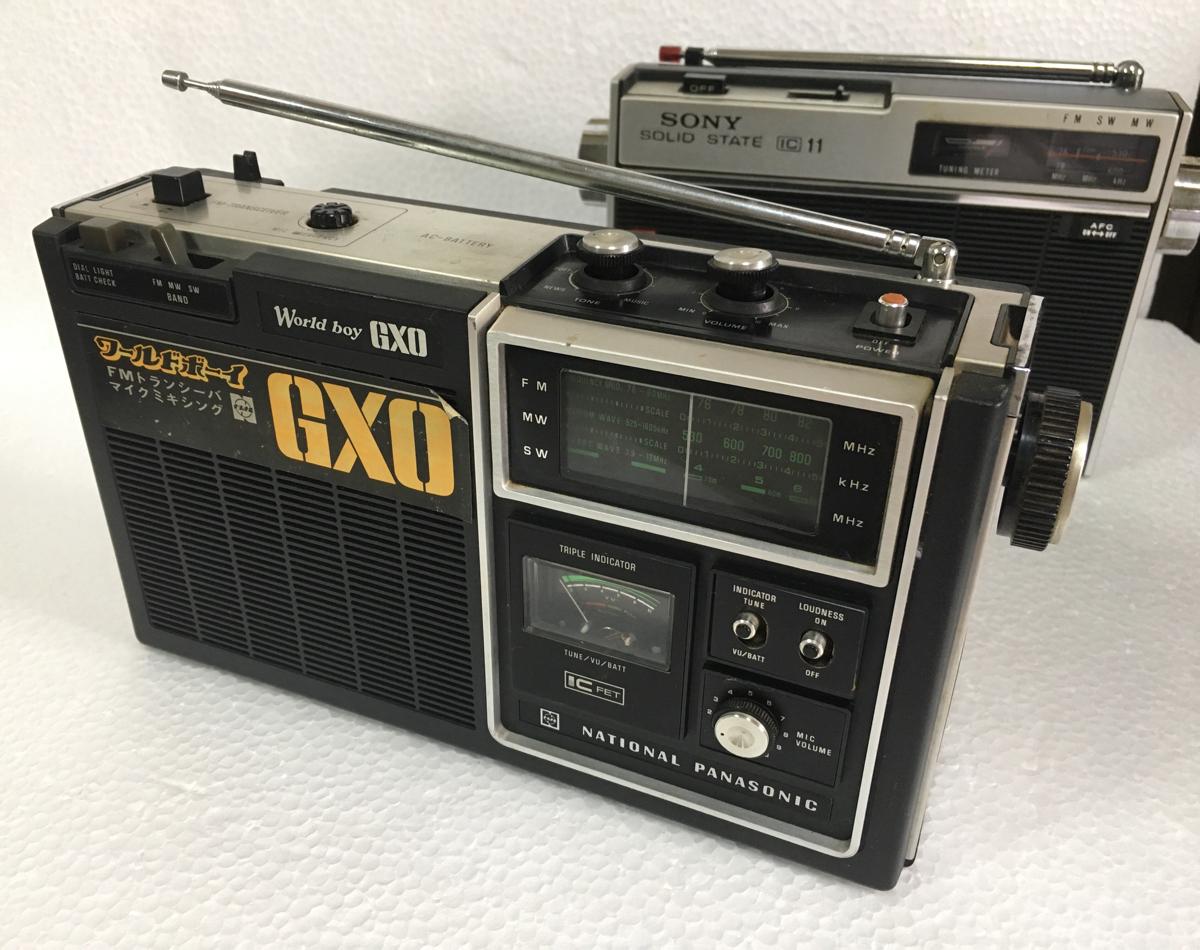 《レトロ》昭和 昔のラジオ ナショナル 『ワールドボーイ GXO』と ソニー 『ICF-110』まとめて2台 ジャンク品_画像2