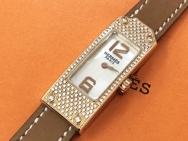 ♪美品 HERMES エルメス アフターダイヤ ケリー2 ドゥブルドゥール □N刻印 KT1.210 腕時計 不動品