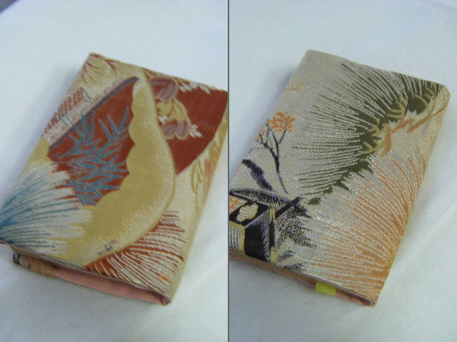 yu float [ silk * obi remake * hand made ] unbleached cloth * book cover * library book@ size *