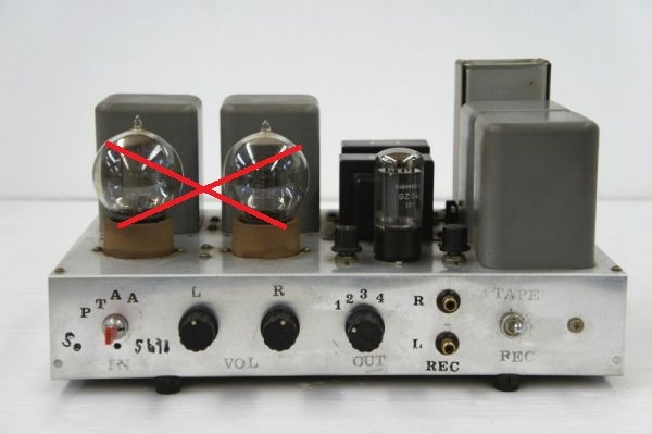 E14312】自作 真空管 コントロールアンプ WESTERN ELECTRIC 205E ×2 使用 ジャンク