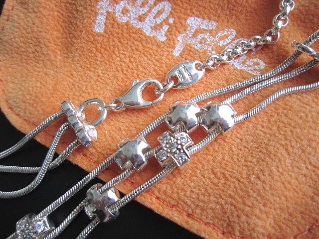 【美品】Folli Follie(フォリフォリ)SV925ジルコニア付きクロスのボリュームチョーカー/ネックレス(箱・袋付き)_画像2