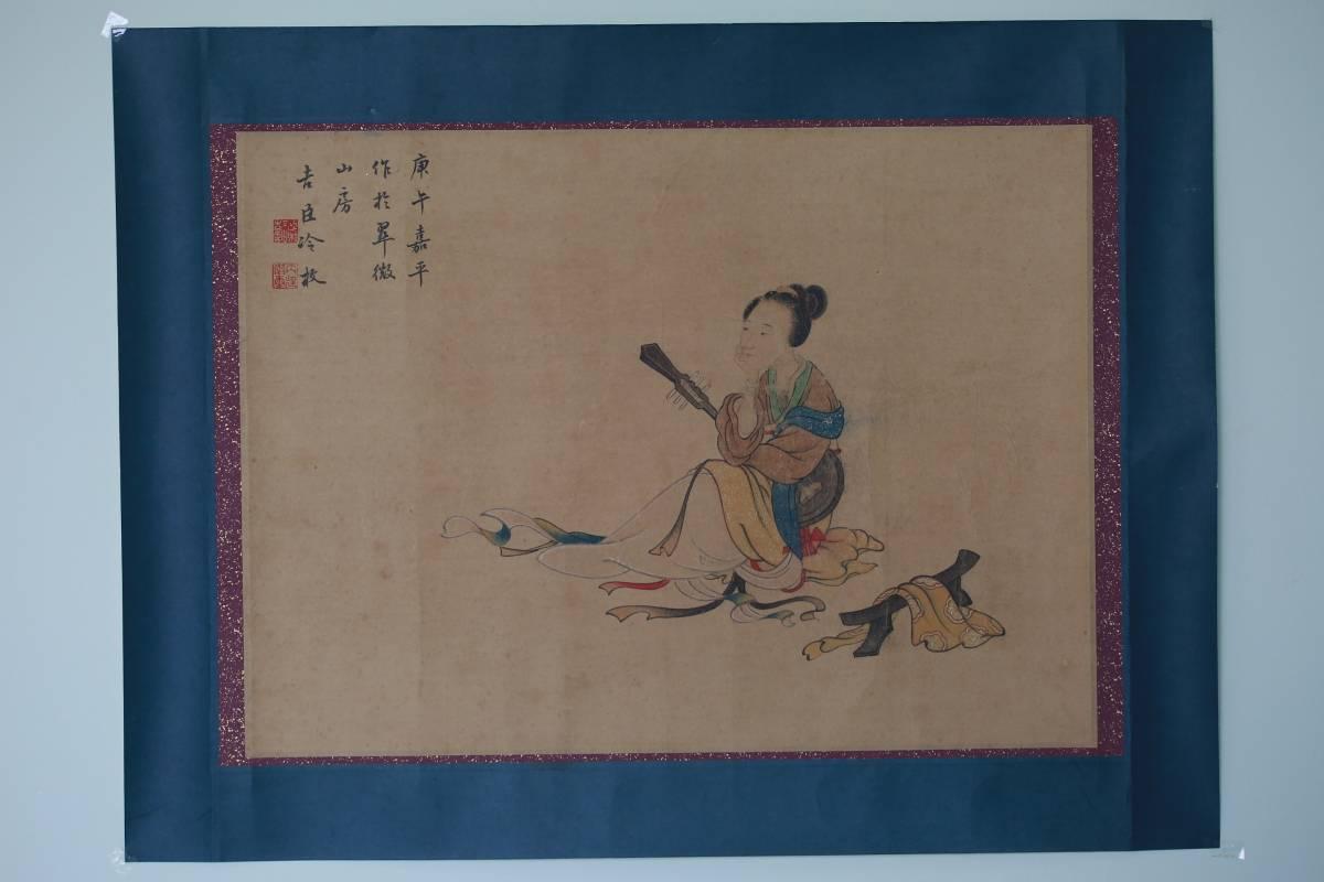 【1707ZH8027】中国美術 手巻き画絵巻冷枚『仕女図』立軸 精品軸