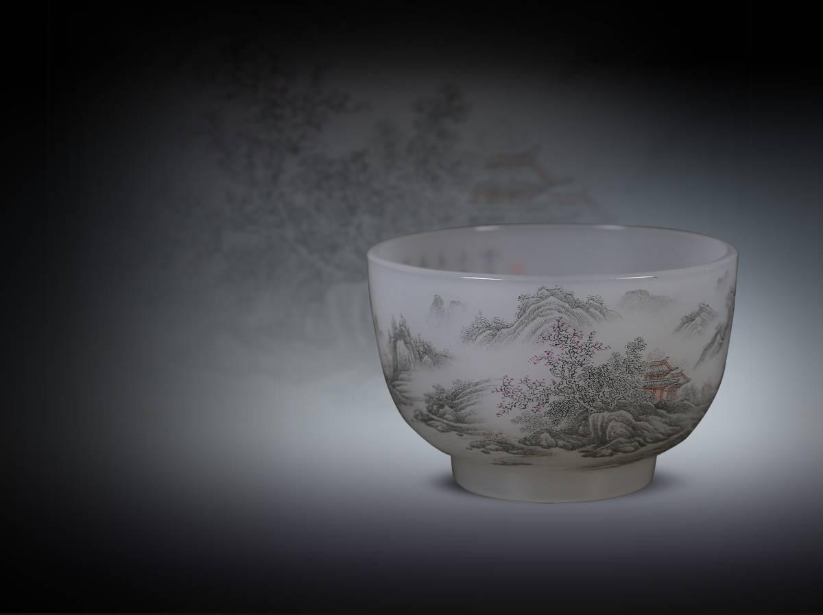 【1707A35077】中国 清 時代唐物 古い瑠璃手描き 色絵 『山水人物』ガラス細工 賞椀 置物