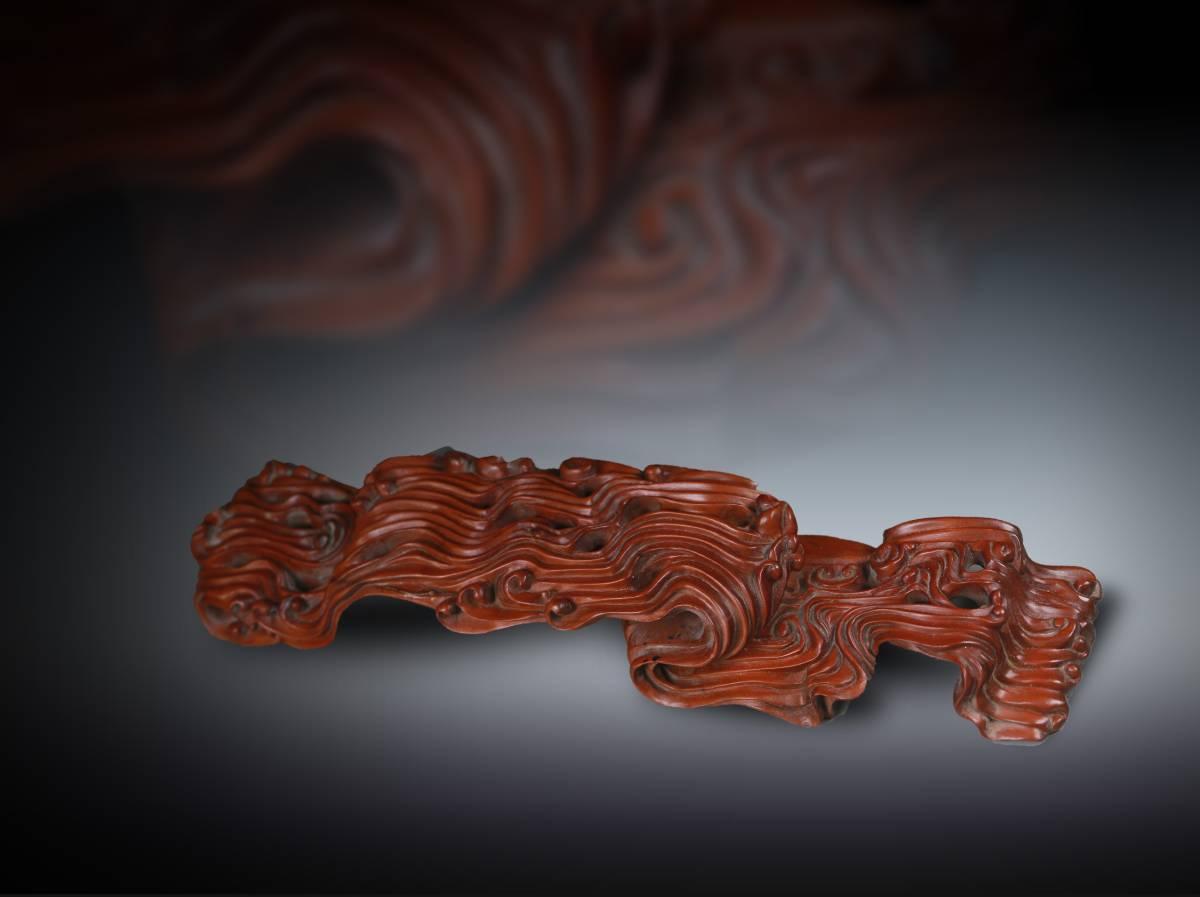 【1707M80086】中国古工芸 清 柘植木手彫『海水紋』筆架 筆置き 書道具 置物 文房 古道具
