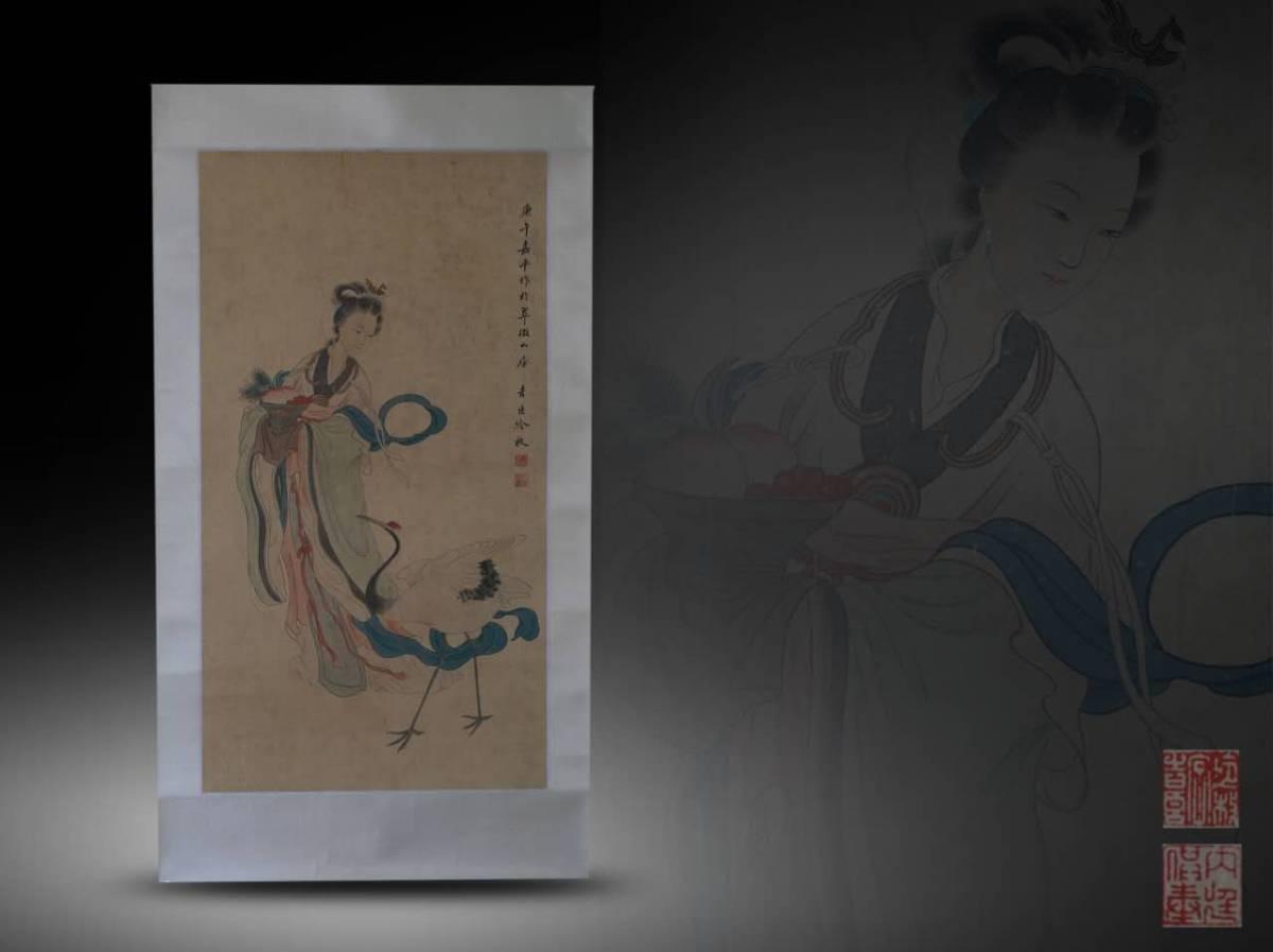 【1707ZH80028】中国美術 手巻き画絵巻冷枚『仙女図』立軸 精品軸