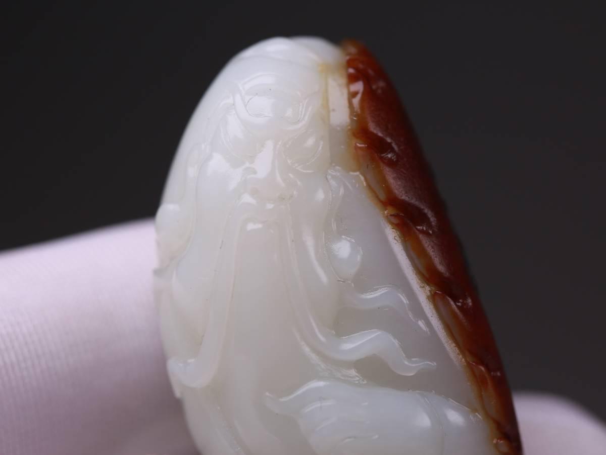 【1707Y75011】中国 清 和田玉仔料精彫 棗赤皮『関羽』開運玉器 根付 貴重 珍しい 古玩_画像3