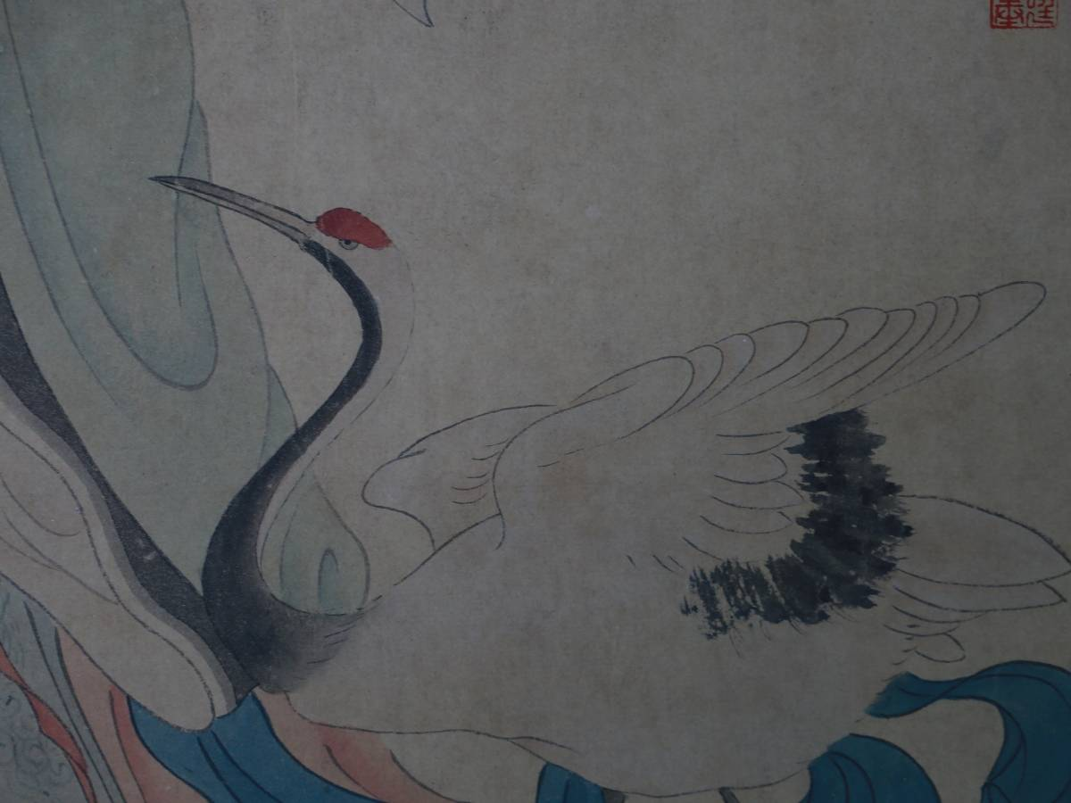【1707ZH80028】中国美術 手巻き画絵巻冷枚『仙女図』立軸 精品軸_画像3