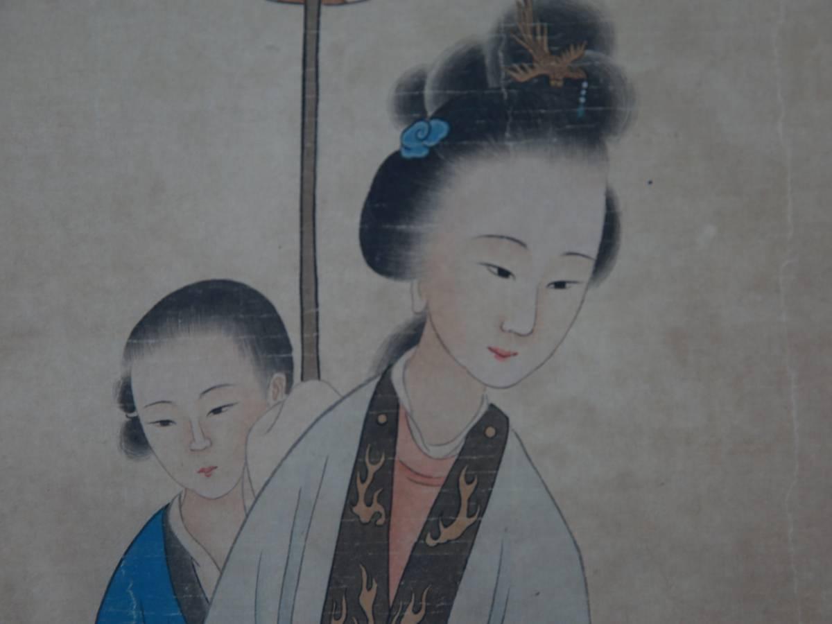 【1707ZH80026】中国美術 手巻き画絵巻 改琦『仕女図』立軸 精品軸_画像2