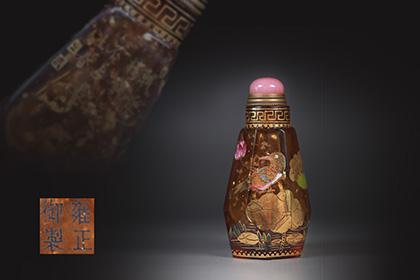 【1707B15064】中国 清 時代唐物 古い瑠璃手描き『花鳥図』ガラス細工 鼻煙壷 薬壷 置物